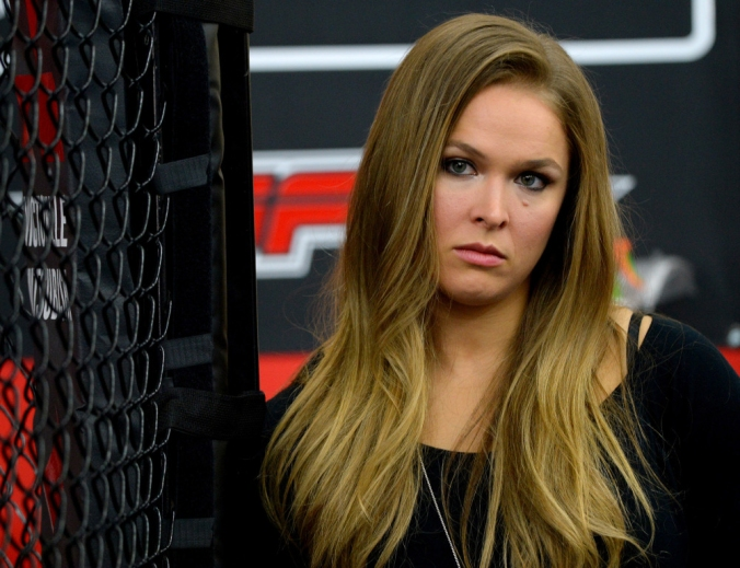 Feb 18, 2015; Glendale, CA, USA;  Ronda Rousey talks about her upcoming championship fight during media day for UFC 184 at Glendale Fighting Club. Mandatory Credit: Jayne Kamin-Oncea-USA TODAY Sports ORG XMIT: USATSI-221624 ORIG FILE ID:  20150218_gma_aj4_027.jpg
